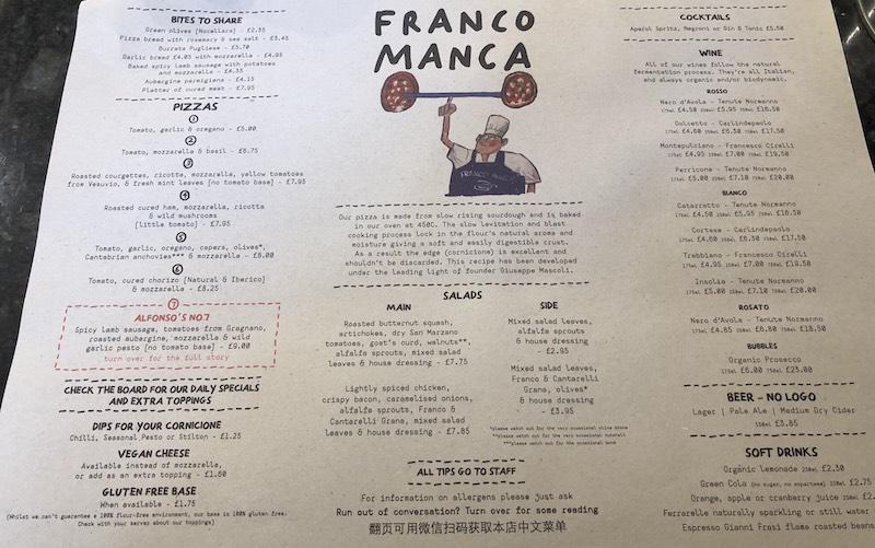 franco manca birmingham menu